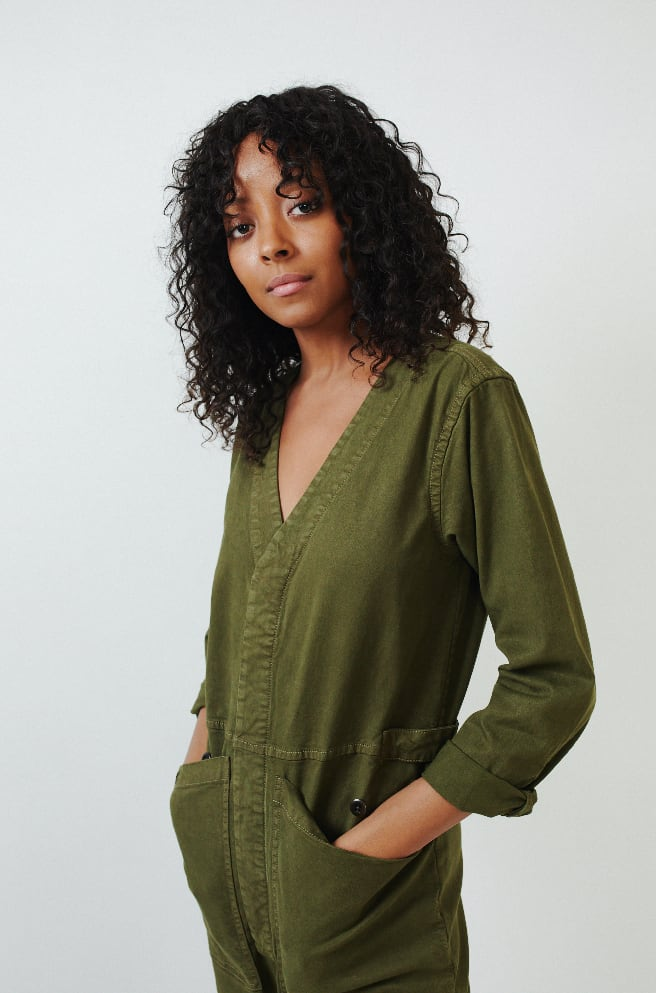 V-Neck Jumpsuit-military olive
