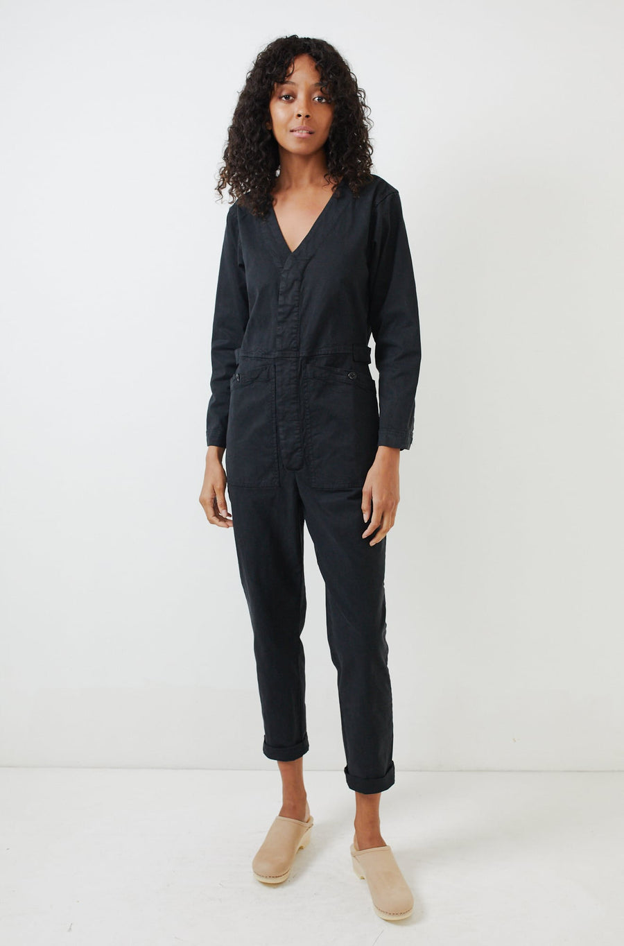 V-Neck Jumpsuit-black