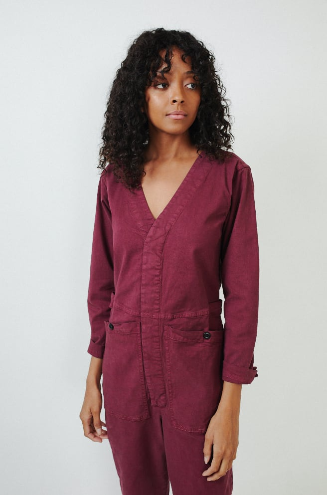 V-Neck Jumpsuit-bordeaux