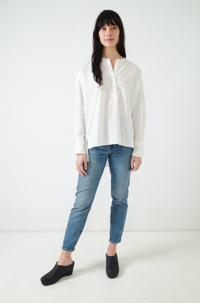 Max Gathered Back Shirt-white