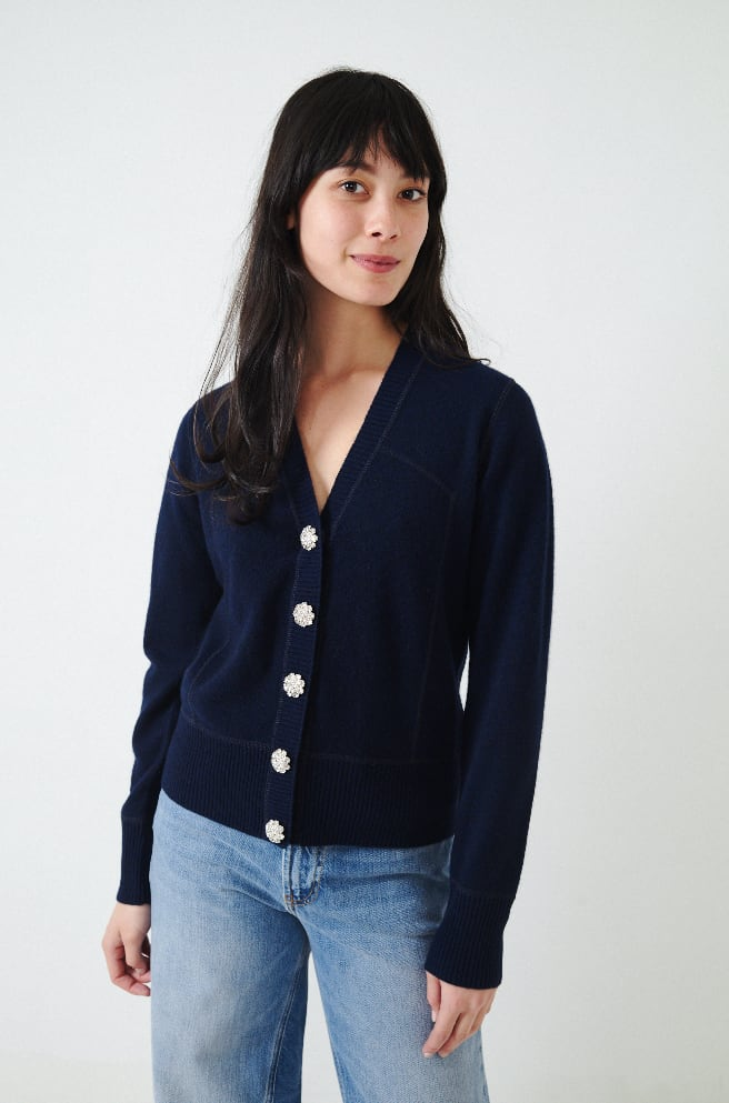 Cashmere Knit Cardigan-sky captain