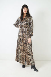 Leopard Print Silk Maxi Dress-leopard