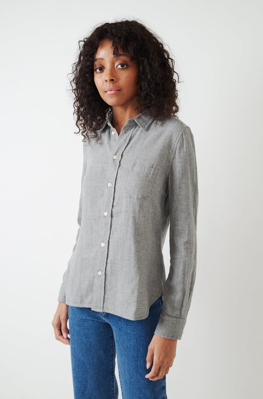 Shrunken Double Gauze Shirt-light grey
