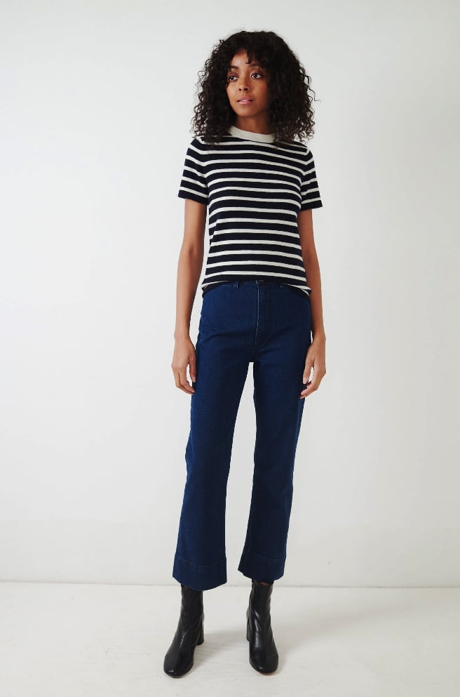 Helenne Stripe Top-navy/white