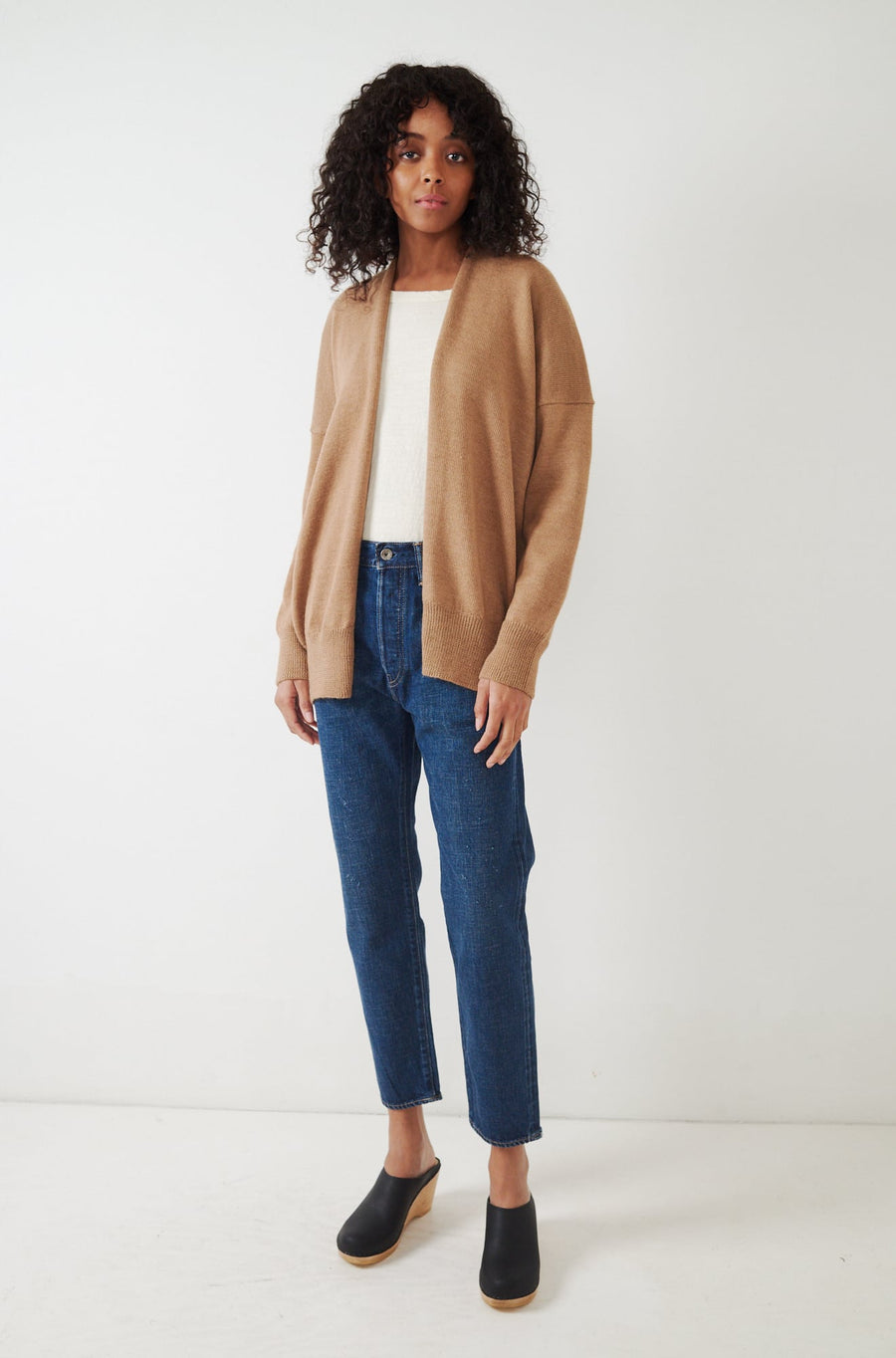 Oversize Simple Cardigan-camel