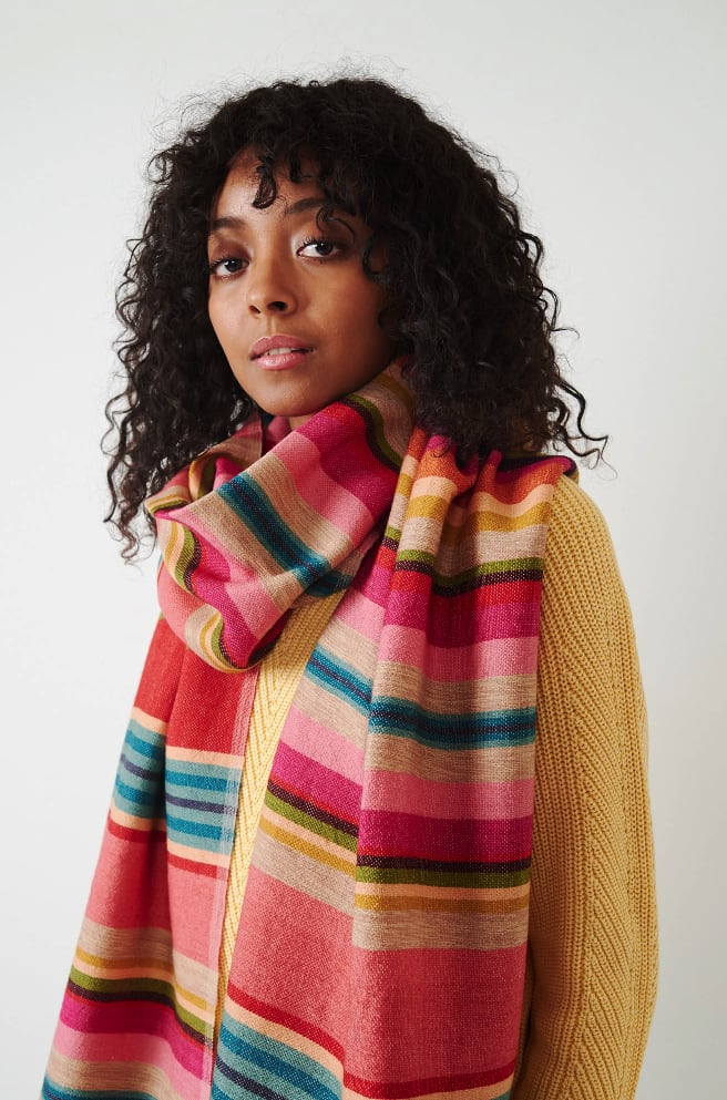 Red Striped Scarf-red