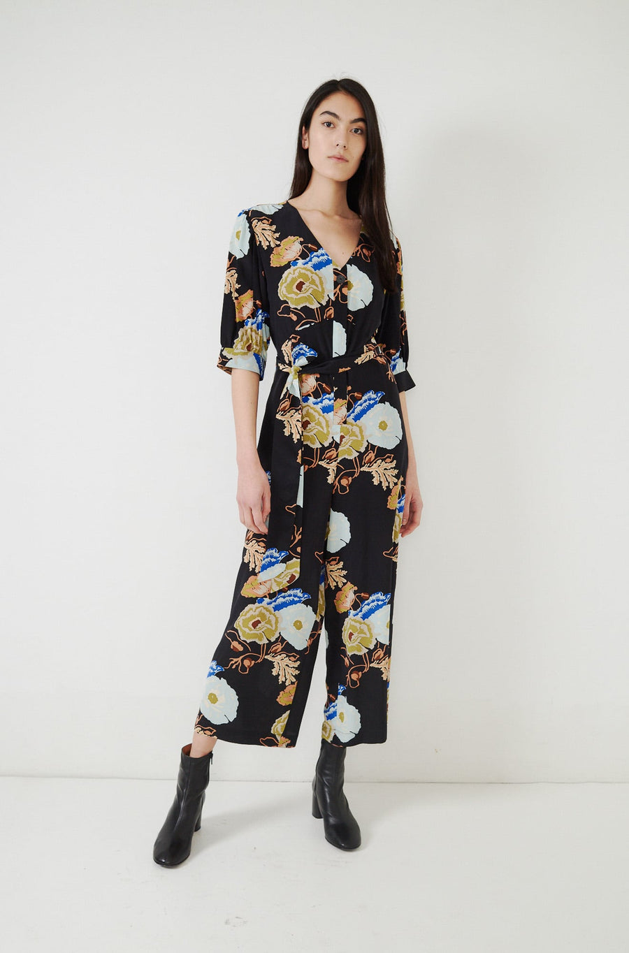 Francesca Jumpsuit-black/blue hyacinth