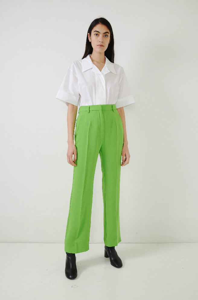 Crepe Trousers-apple green