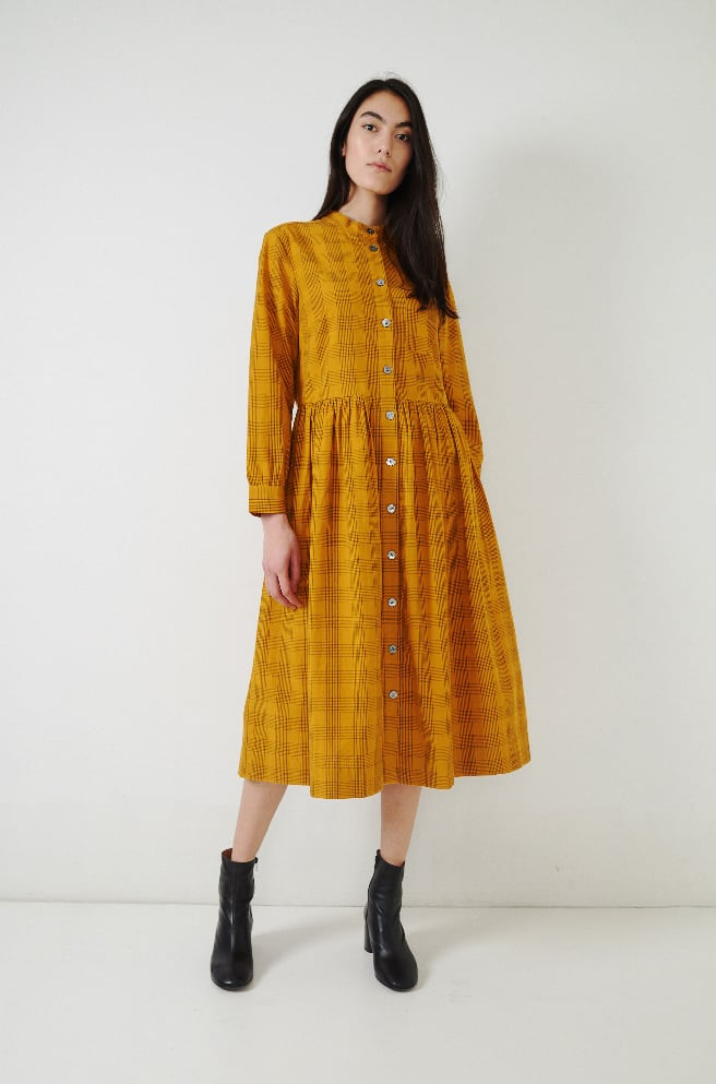 Chalkboard Check Dress-ochre/slate