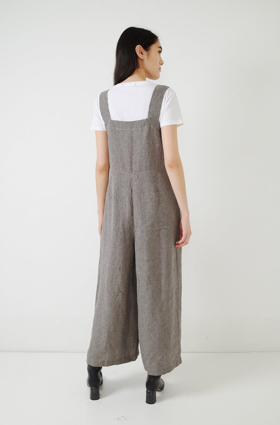 Linen Gingham Jumpsuit-midnight/ecru