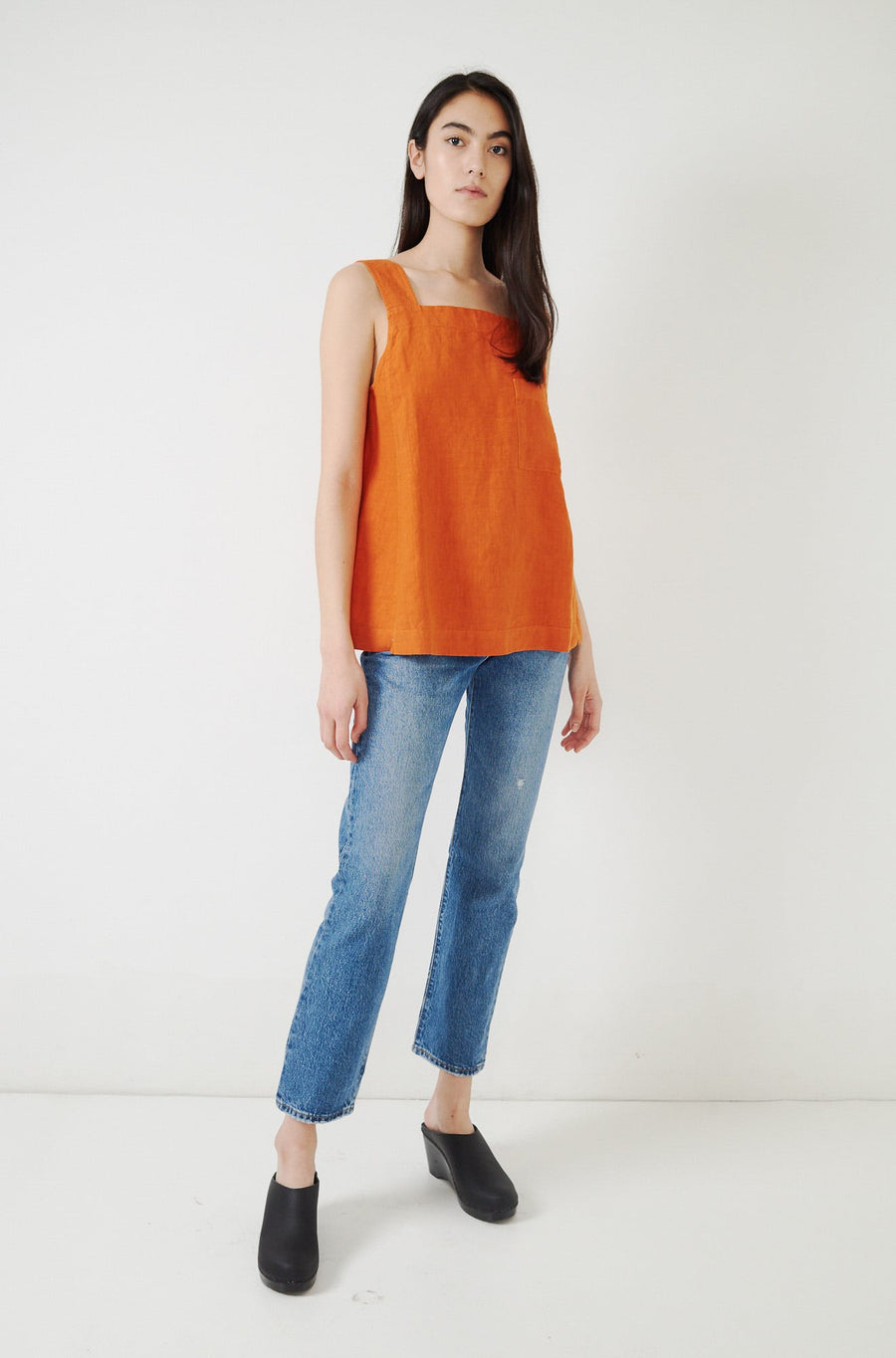 Garment Dyed Linen Tank Top-persian orange