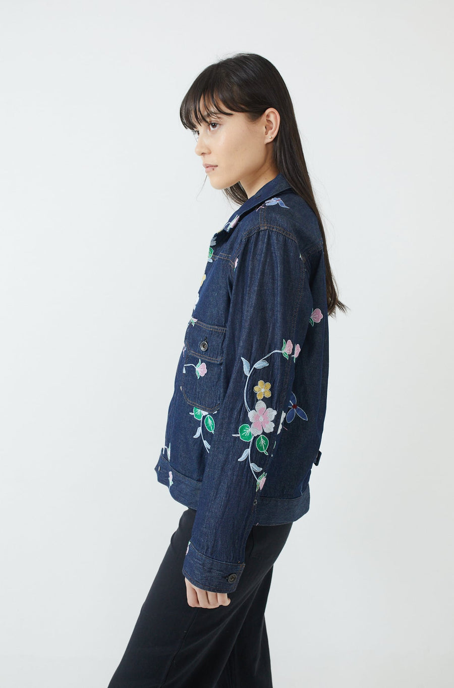 Floral Embroidered Trucker Jacket-indigo