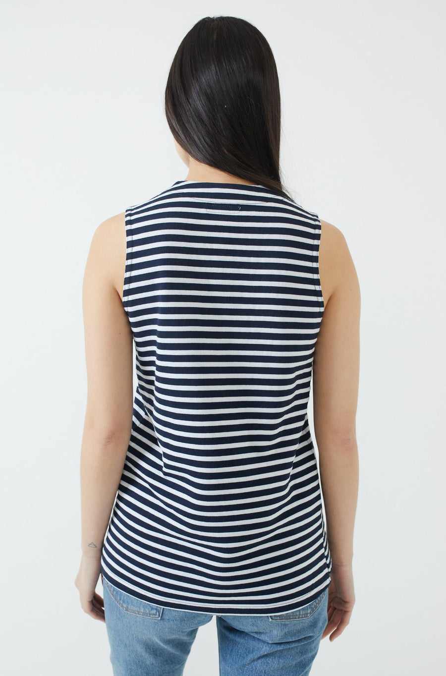 U Neck Popover-navy/white