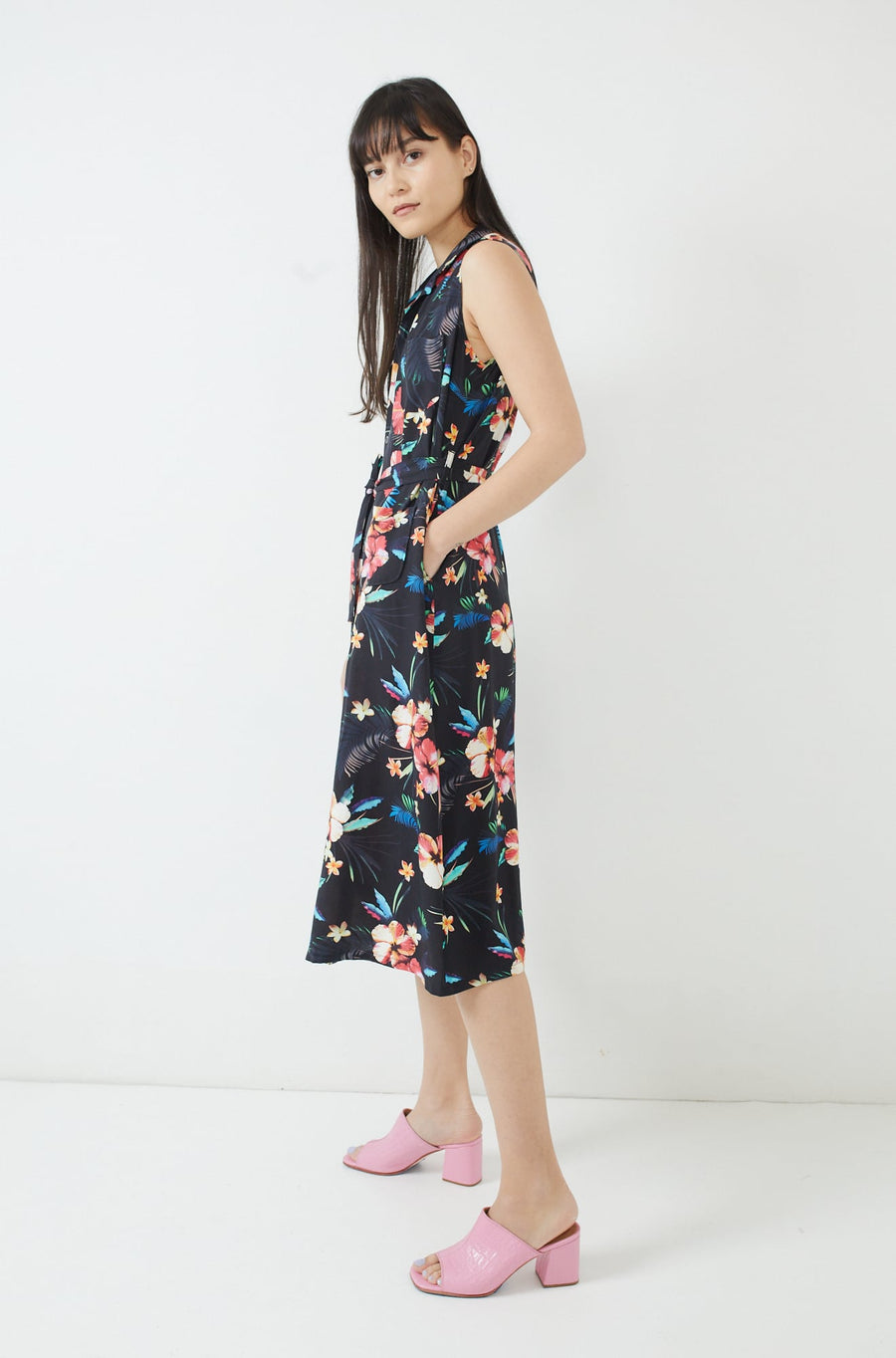 Classic Shirt Dress-black tropical floral