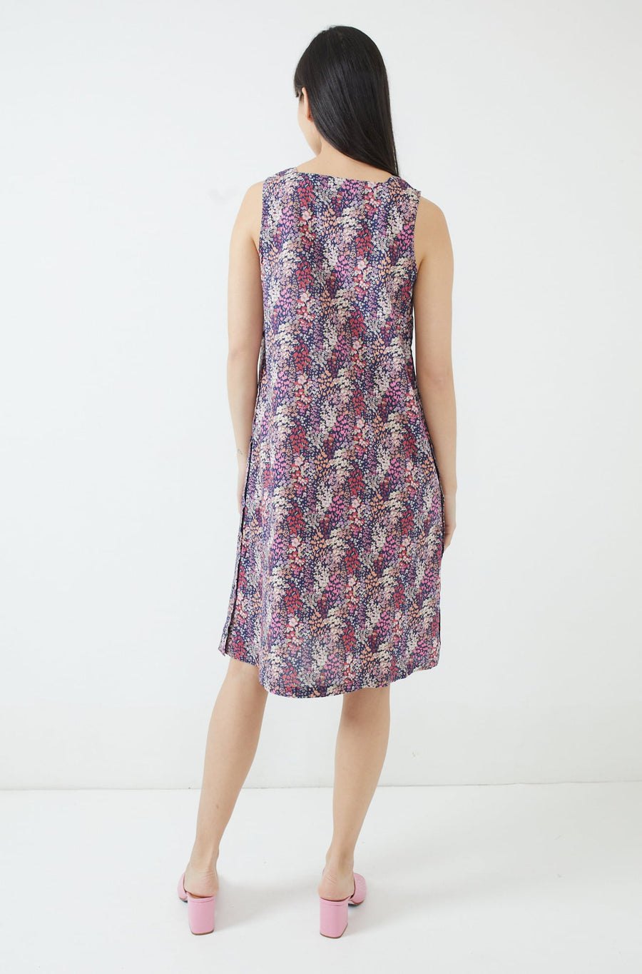 Square Neck Dress-navy/pink