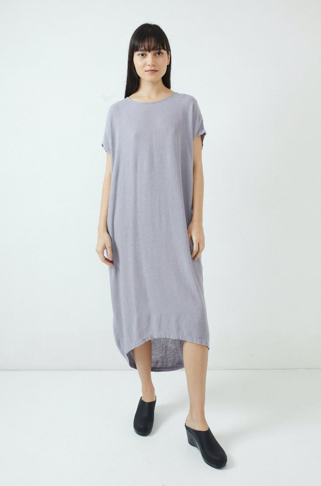 Pleated Cocoon Dress-lavender