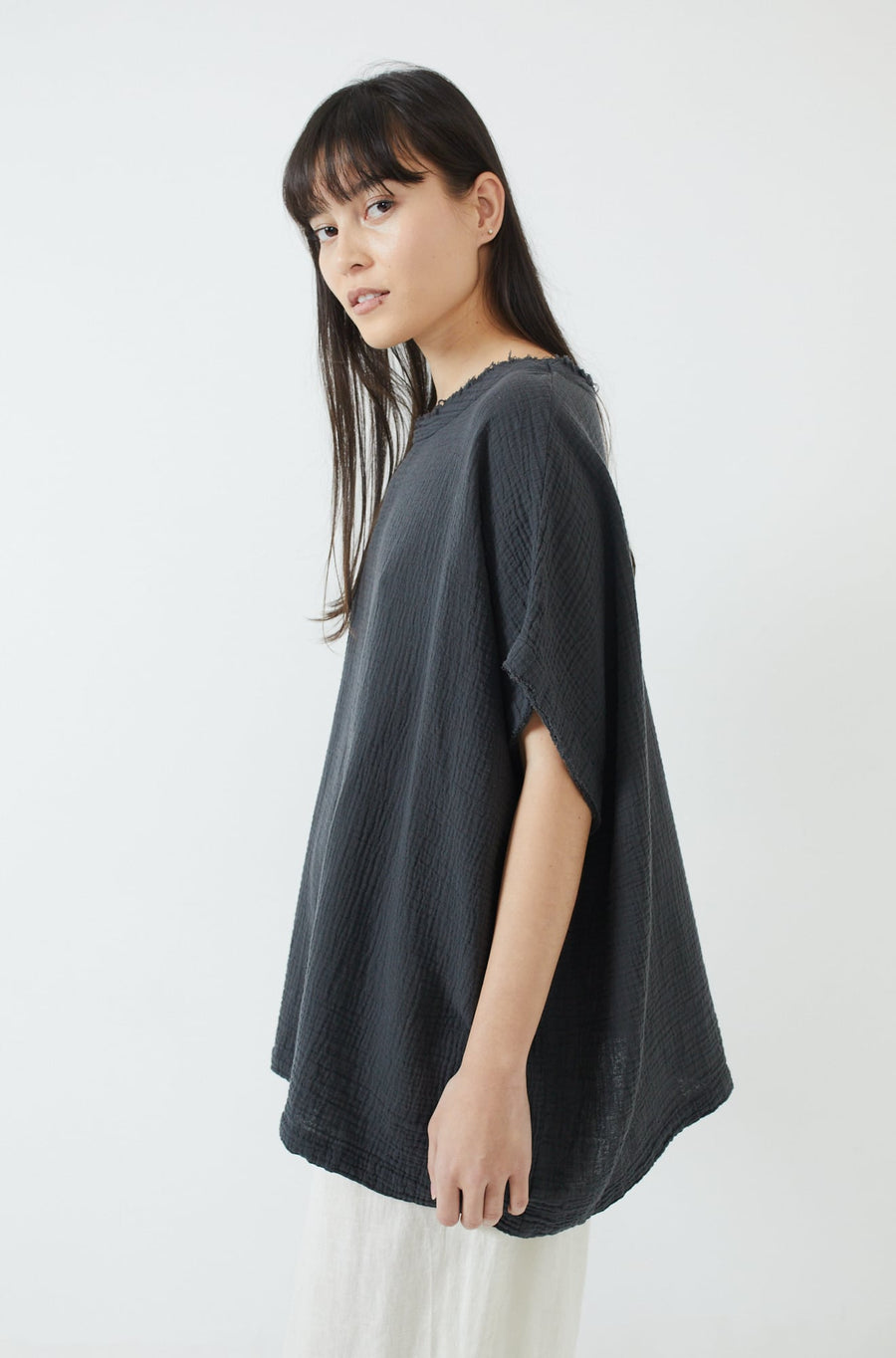 Double Gauze Top-f. black