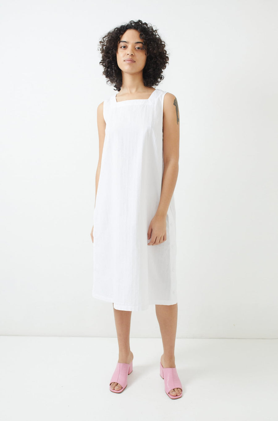 Square Neck Dress-white