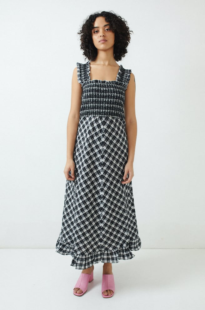 Seersucker Check Dress-black