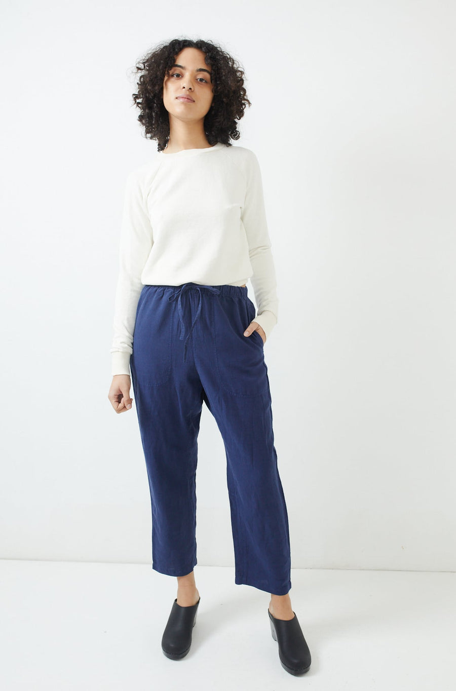 Garment Dyed Linen Trousers-ink blue