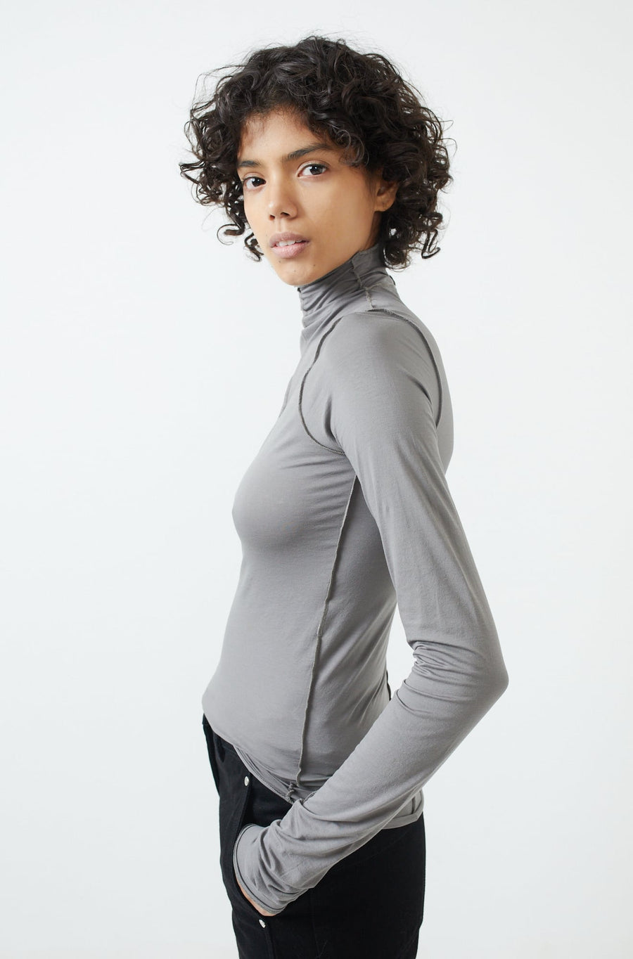 Twisted Second Skin Top-grey
