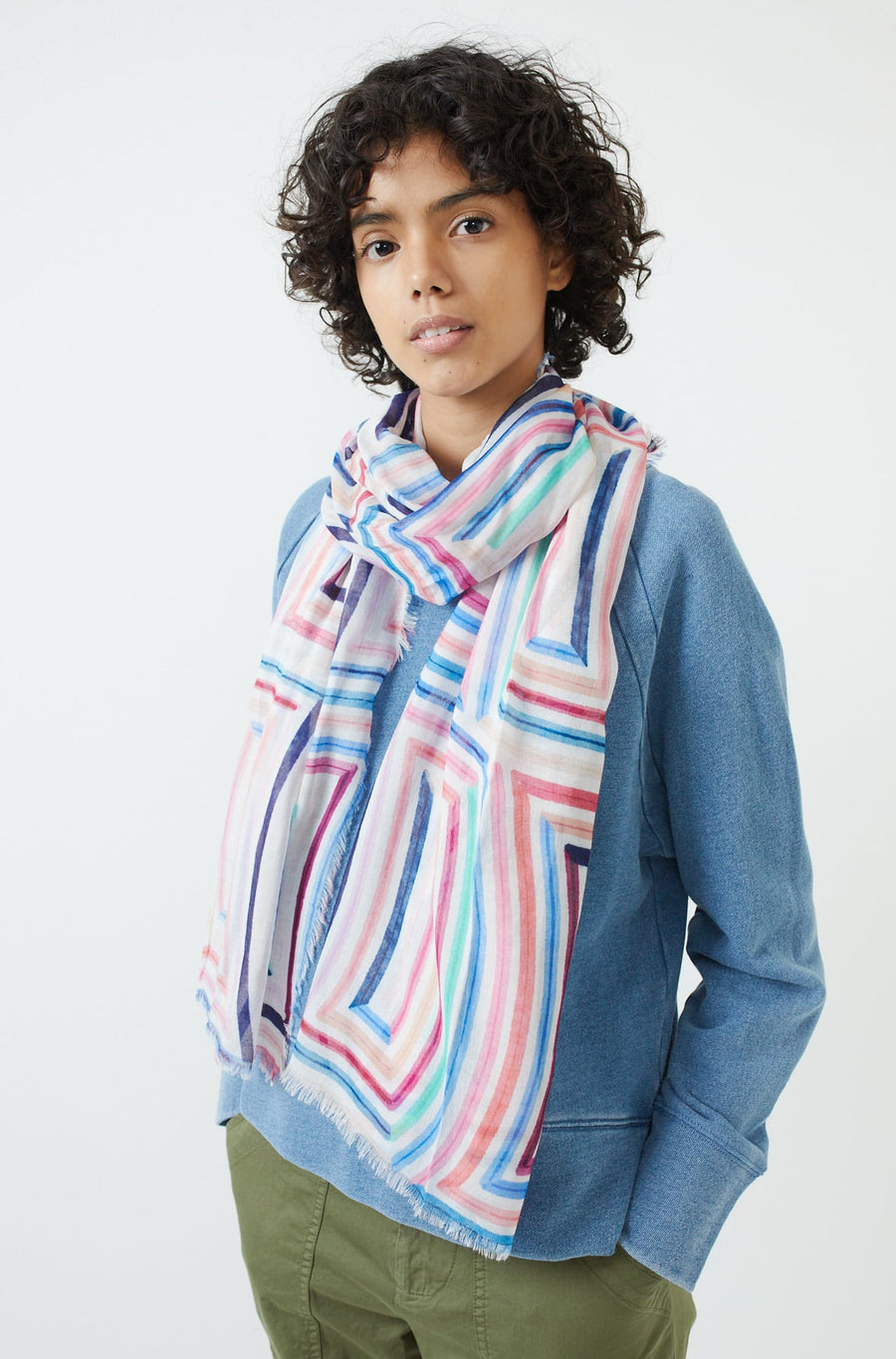 Colorful Cubes Oblong Scarf-multi