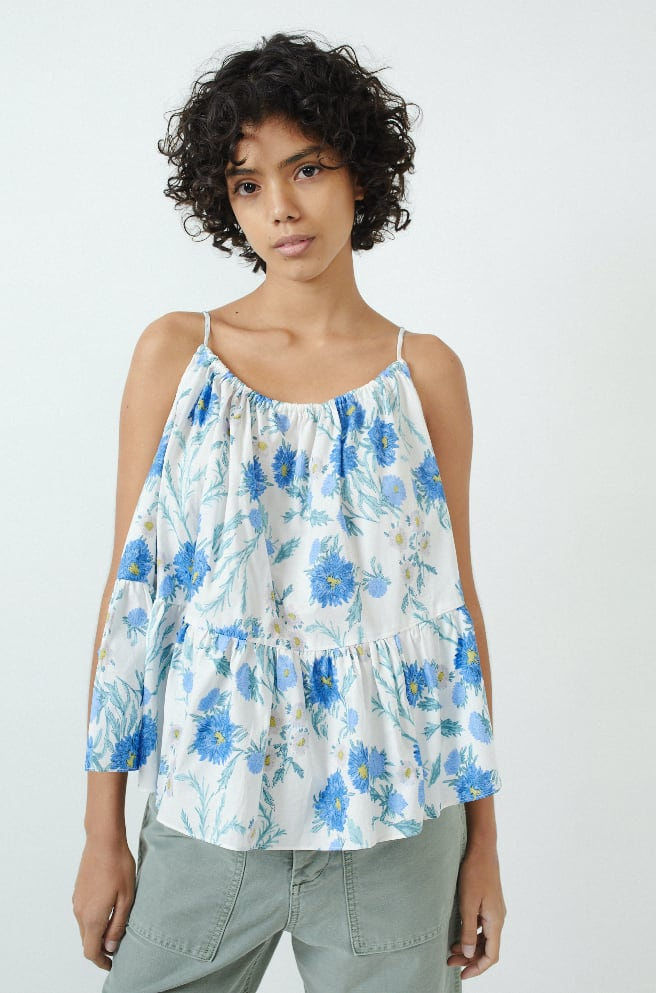 Aster Top-white blue