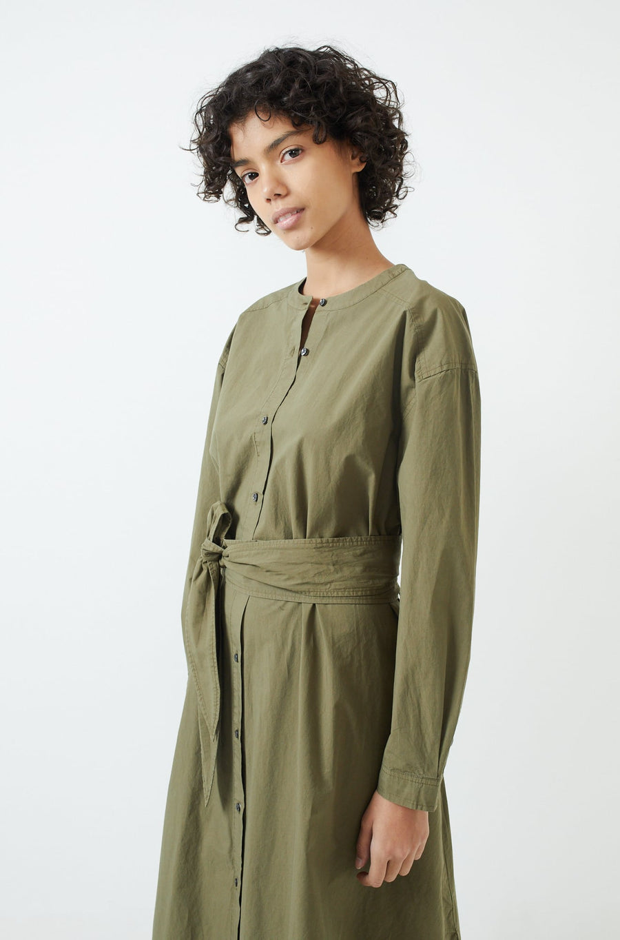 Tie Waist Shirtdress-military olive