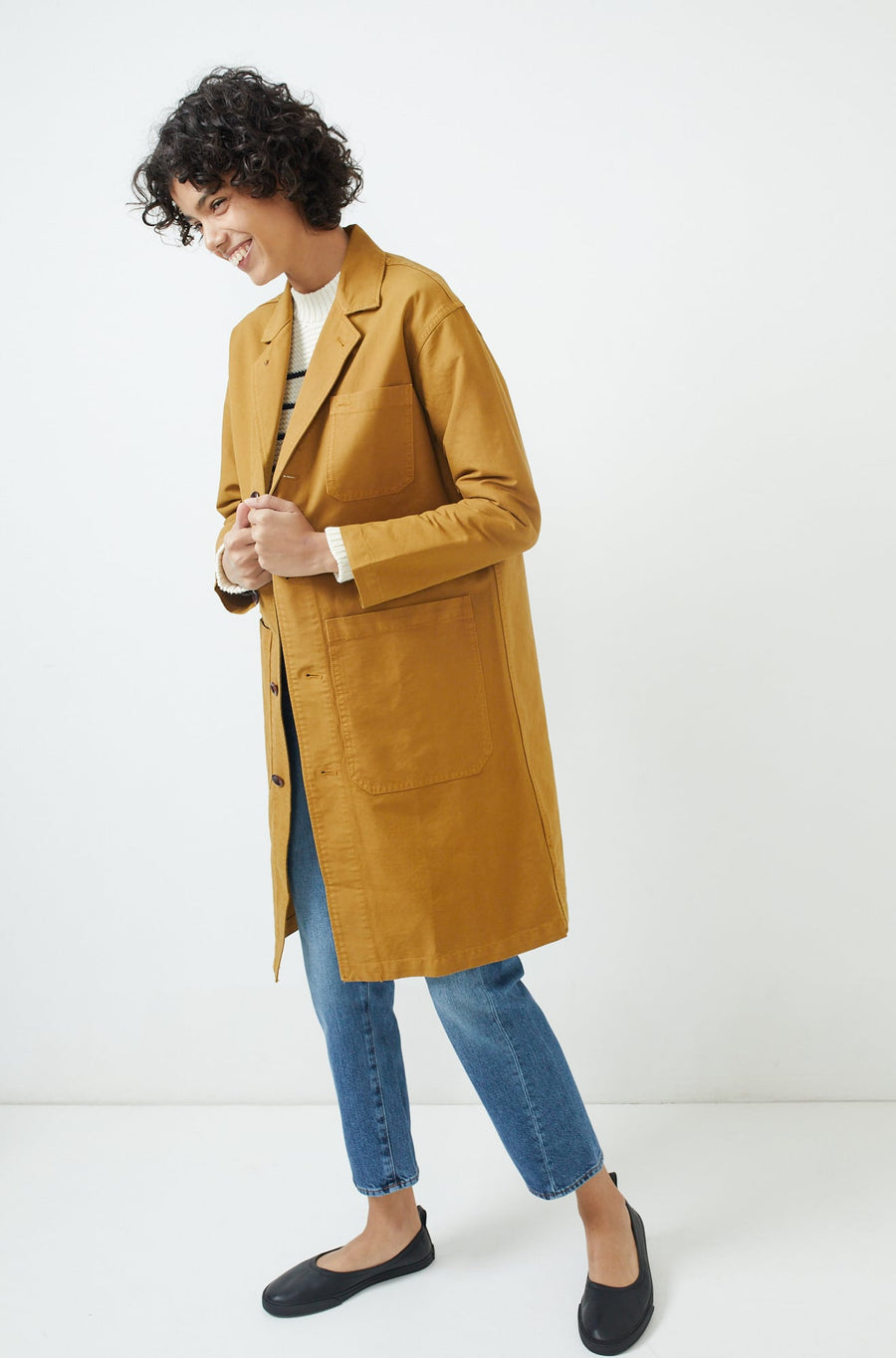 Long Work Jacket-golden khaki