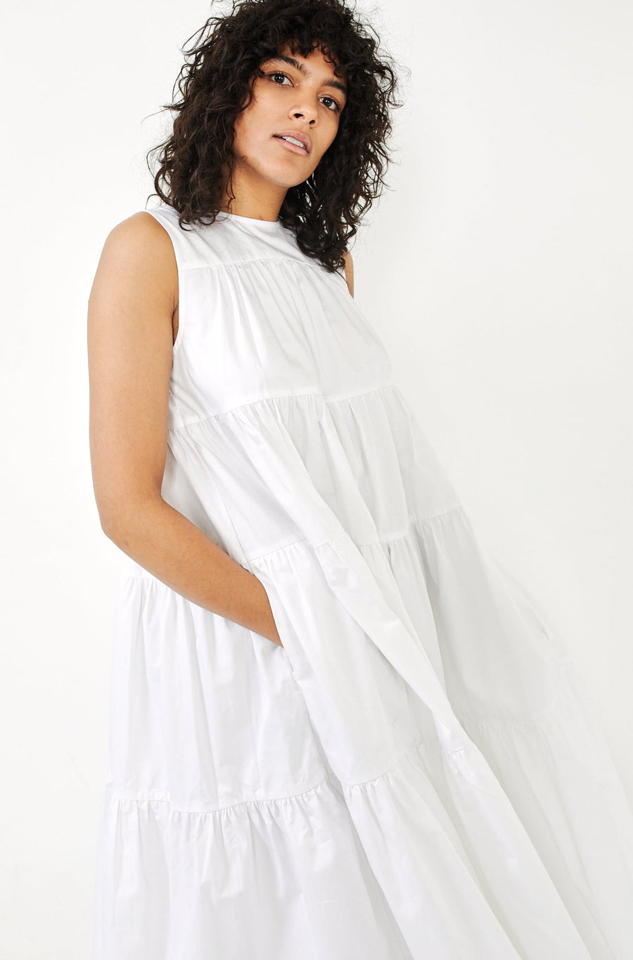 Tiered Dress-white