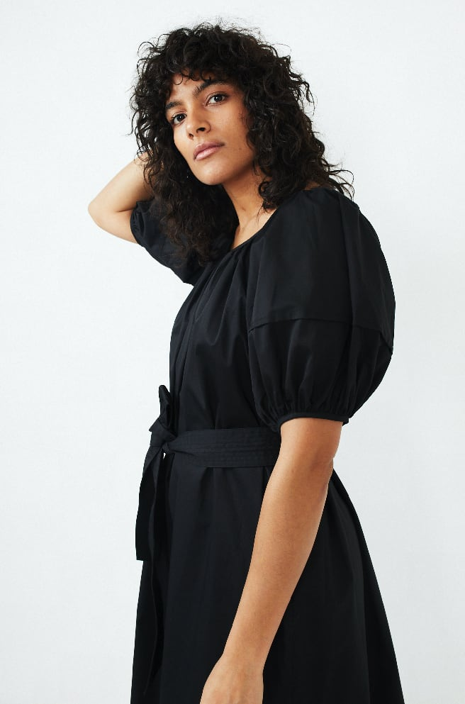 Bubble Sleeve Midi Dress-black