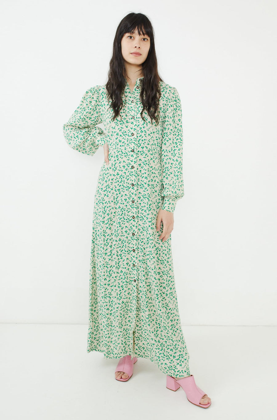 Printed Crepe Dress-tapioca