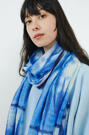 Shibori Watercolor Oblong Scarf-azul