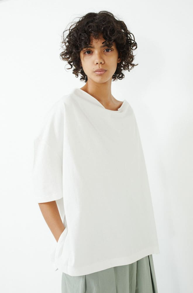 Draped Back Tee-white