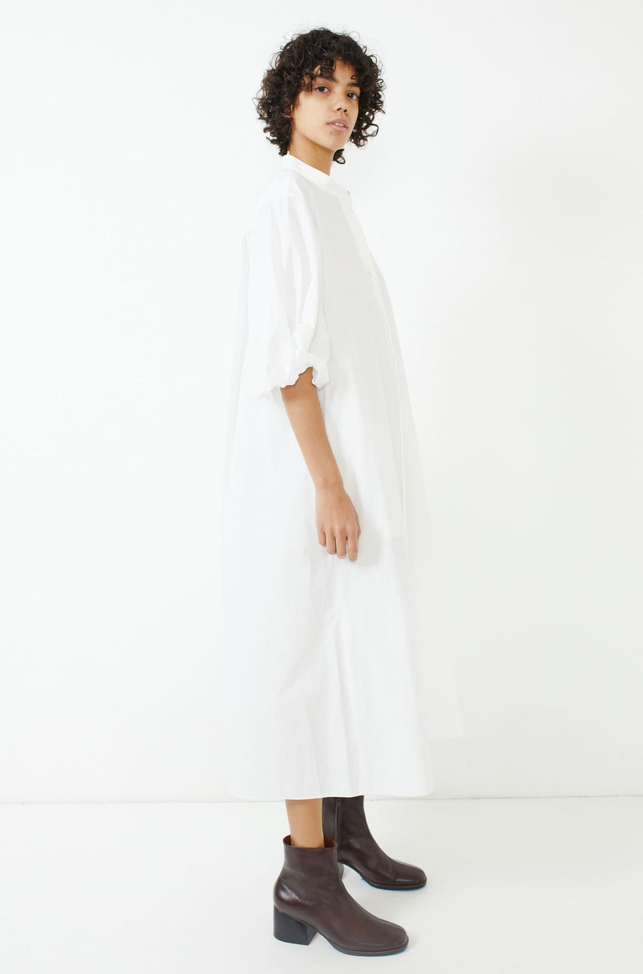 Twisted Sleeve Dress-white