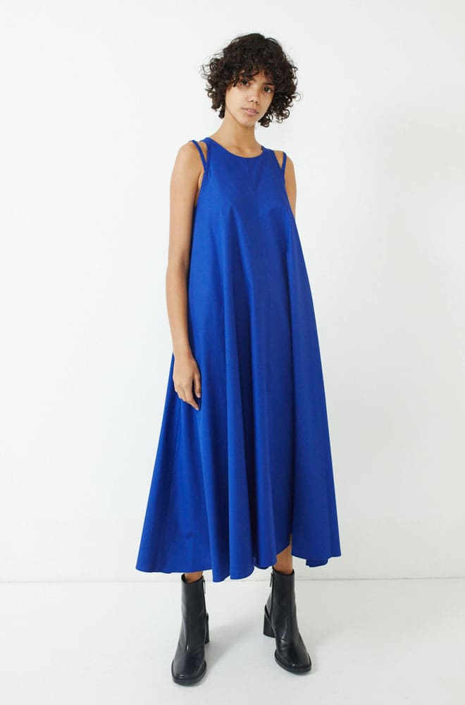Double Strap Dress-lapis blue