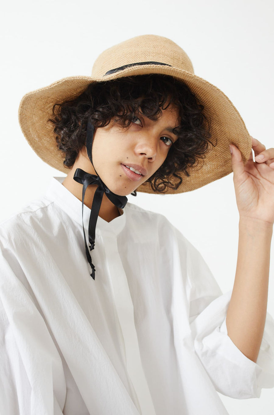 Jute Sun Hat with Silk Ribbon-natural x black
