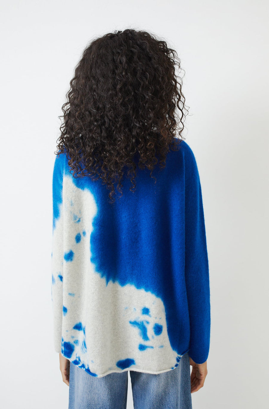 Cashmere Seamless Shibori Pullover-royal blue/light grey