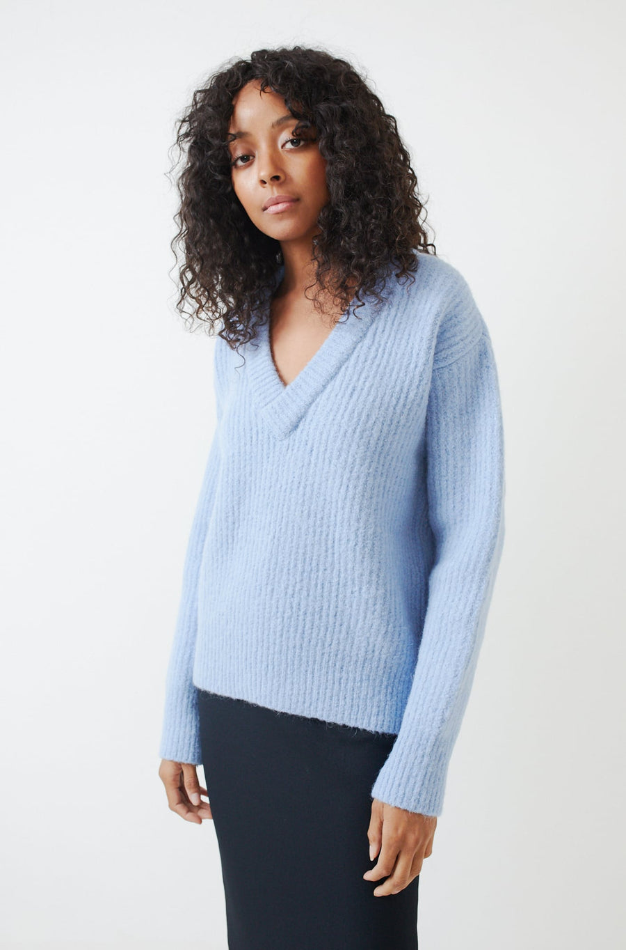 Relaxed V-Neck Sweater-baby blue