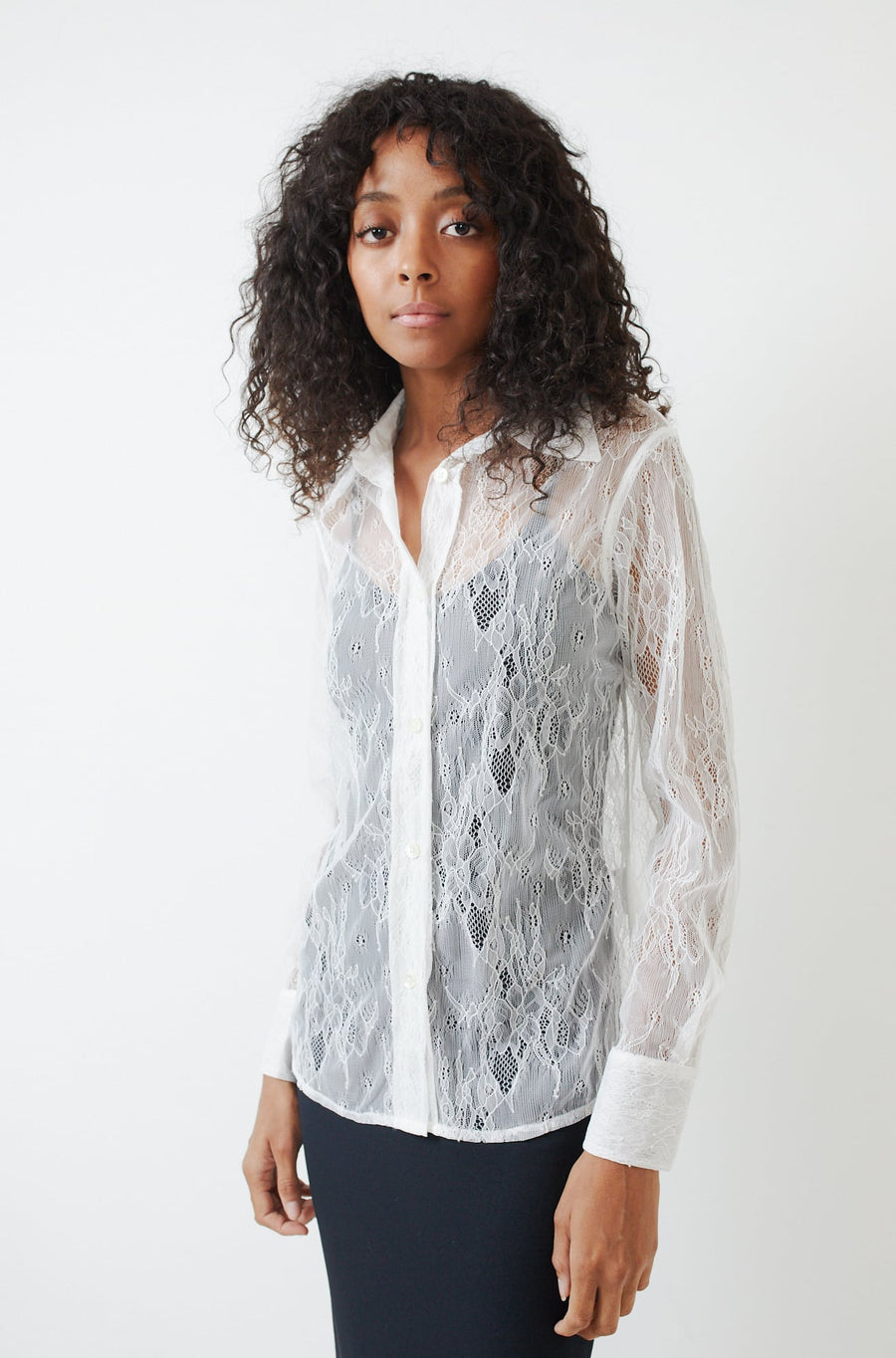 70s Line Lace Shirt-white