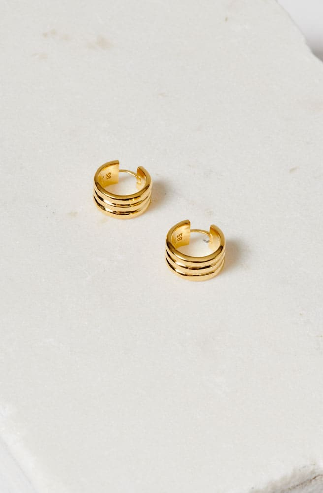 Gold Small Three Sisters Hoop Earrings-18k gold vermeil
