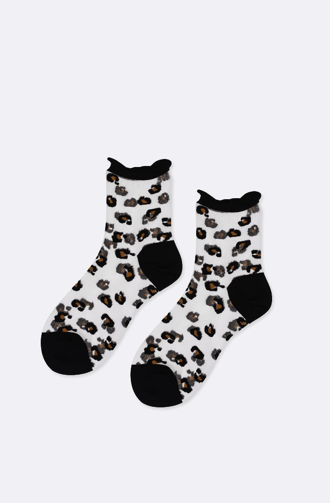 Cheetah Trails Sheer Crew Sock-sheer