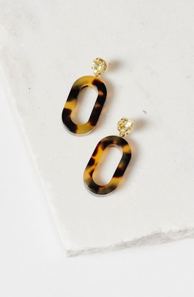 Celeste Earrings-olivine-tortoise