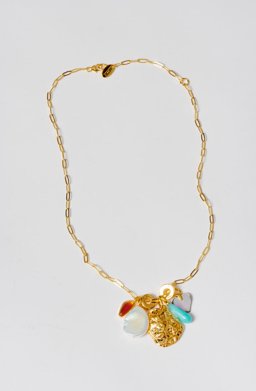Ocean View Charm Necklace-gold plated