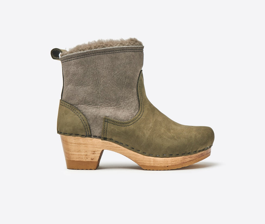 5 Shearling Suede Mid Heel Boot-storm
