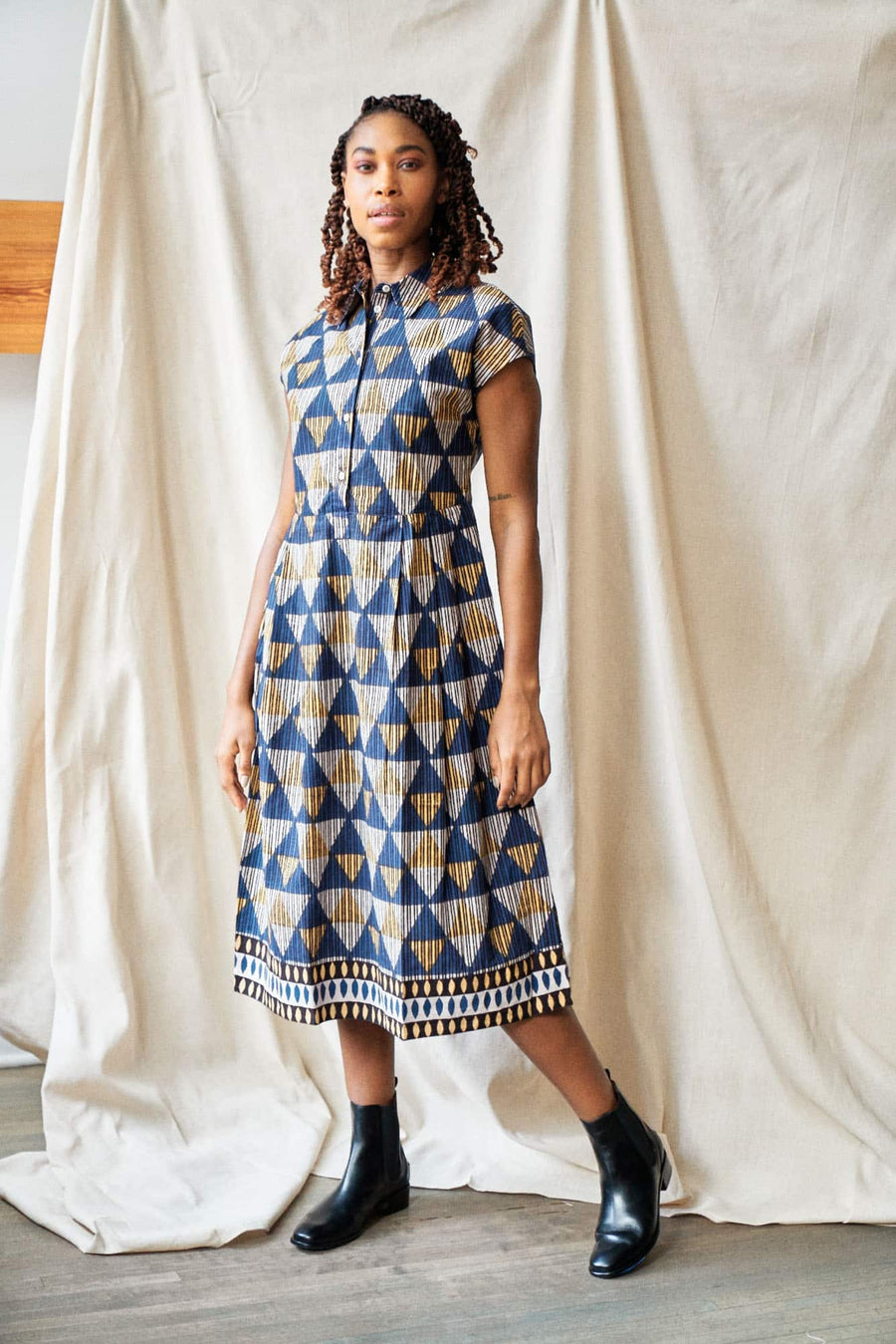 Anokhi Block Print Daya Dress-blue