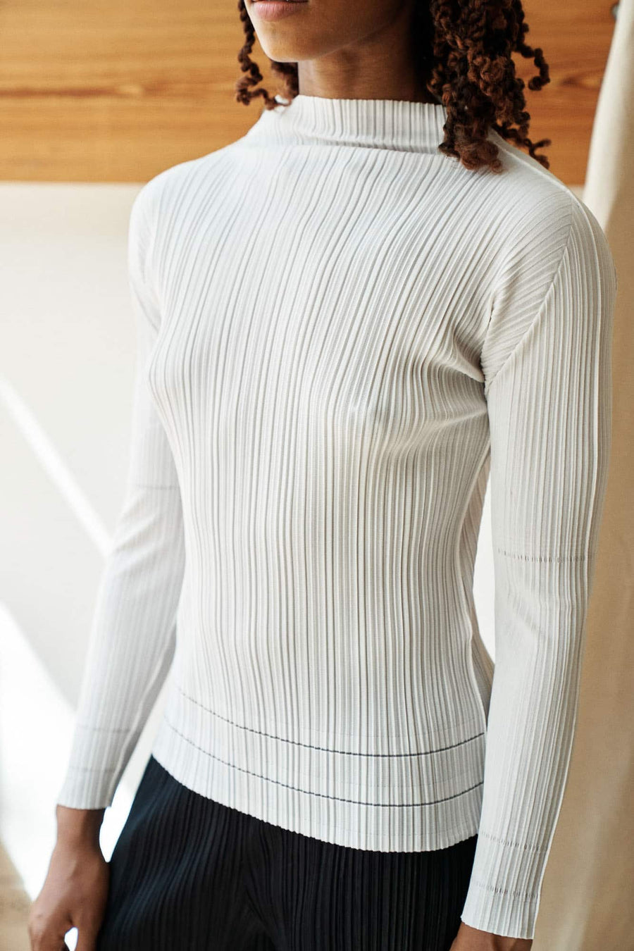 A-Poc Pleats Mockneck Top-white
