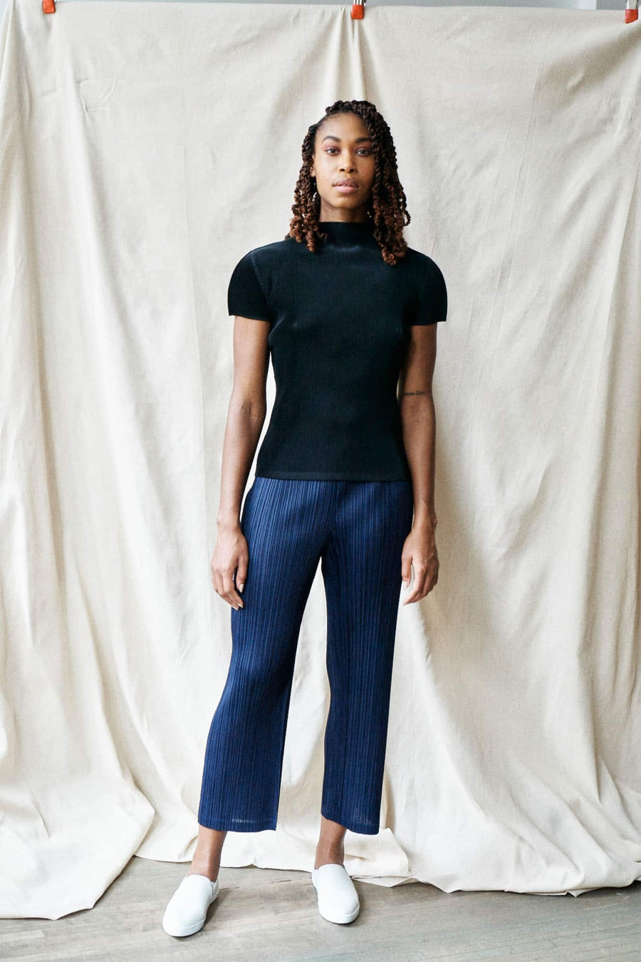 Thicker Bottoms Pleated Pants-navy