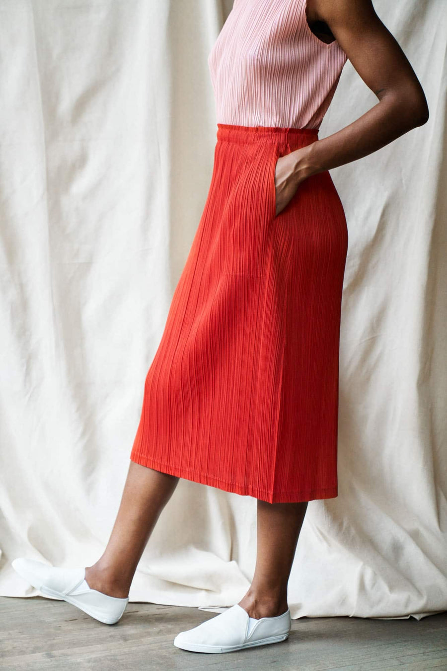 Thicker Bottoms Pleated Skirt-red