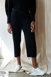 Thicker Bottoms Pleated Pants-black